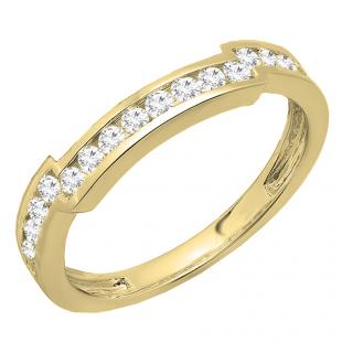 0.50 Carat (ctw) 10K Yellow Gold Round White Diamond Ladies Wedding Band Enhancer Guard Ring 1/2 CT