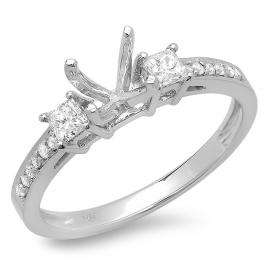 0.35 Carat (ctw) 14K White Gold Princess & Round Diamond Ladies Bridal Semi Mount Engagement Ring 1/3 CT (No Center Stone)