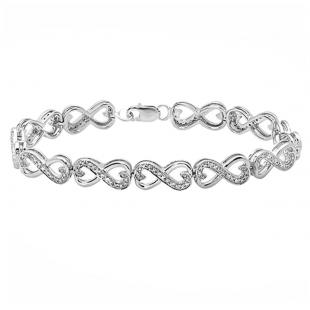 0.30 Carat (ctw) Sterling Silver Round White Diamond Ladies Infinity Heart Tennis Link Bracelet 1/3 CT