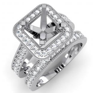 0.75 Carat (ctw) 14k White Gold Brilliant Round Diamond Ladies Bridal Engagement Semi Mount Ring With Matching Band Set 3/4 CT (No Center Stone)