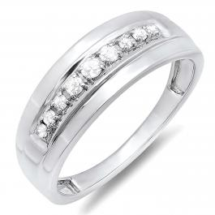 0.23 Carat (ctw) 10K White Gold Round Real Diamond Men's Wedding Anniversary Band Ring 1/4 CT