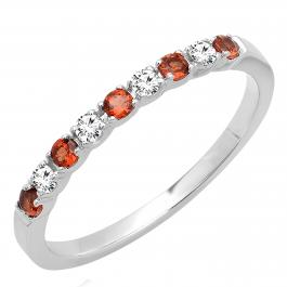 0.30 Carat (ctw) 14k White Gold Round White Diamond & Red Garnet Ladies Anniversary Wedding Band Stackable Ring 1/3 CT
