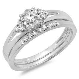 0.30 Carat (ctw) 14K White Gold Round Diamond Ladies Split Shank Bridal Engagement Ring Set With Matching Band 1/3 CT