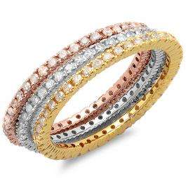 1.15 Carat (ctw) 14K White Yellow & Rose Gold Round White Diamond Ladies 3 Tone Eternity Wedding Anniversary Stackable Band 3 Pcs. Ring Set