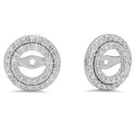 0.70 Carat (ctw) 14k White Gold Round White Diamond Round Shape Double Row Removable Jackets for Stud Earrings 3/4 CT