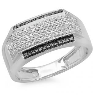 0.45 Carat (ctw) Platinum Plated Sterling Silver Round White & Black Diamond Men's Flashy Hip Hop Pinky Ring 1/2 CT