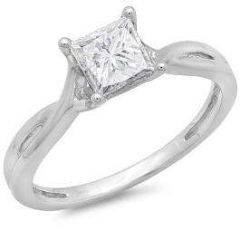 0.74 Carat (ctw) 14K White Gold Princess Cut Diamond Ladies Split Shank Bridal Engagement Solitaire Ring 3/4 CT
