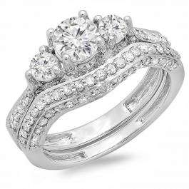 1.75 Carat (ctw) 14k White Gold Round Diamond Ladies Vintage 3 Stone Bridal Engagement Ring Set 1 3/4 CT