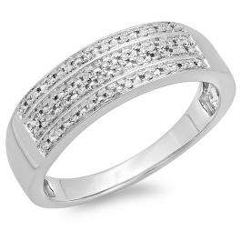 0.15 Carat (ctw) 14K White Gold Round Diamond Men's Micro Pave Wedding Anniversary Band Ring