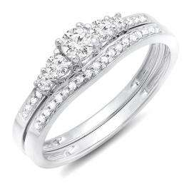 0.40 Carat (ctw) 14k White Gold Round Diamond Ladies 5 Stone Bridal Engagement Ring Matching Band Set