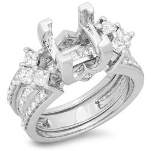 1.75 Carat (ctw) 14k White Gold Princess & Round Diamond Ladies Bridal Semi Mount Engagement Ring With Matching Band Set 1 3/4 CT (No Center Stone)