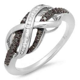 0.20 Carat (ctw) Sterling Silver Round & Baguette Cut Black & White Diamond Ladies Swirl Infinity Two Tone Wedding Ring 1/5 CT