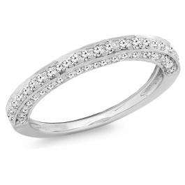 0.33 Carat (ctw) 10K White Gold Round White Diamond Ladies Bridal Wedding Band 1/3 CT