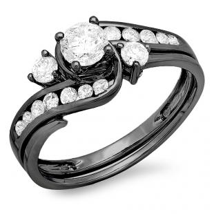 1.33 Carat (ctw) Black Rhodium Plated 18K White Gold Round Diamond Ladies Bridal Swirl Engagement Ring With Matching Band Set