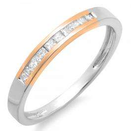 0.20 Carat (ctw) Two Tone Rose Gold Plated 10K White Gold Princess Cut White Diamond Ladies Anniversary Wedding Band Stackable Ring 1/5 CT