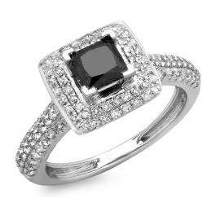14K White Gold Princess & Round Cut Black & White Diamond Ladies Halo Bridal Engagement Ring