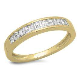 0.33 Carat (ctw) 14K Yellow Gold Princess & Baguette Cut Diamond Ladies Anniversary Wedding Stackable Ring Band 1/3 CT
