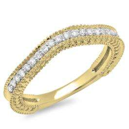 0.25 Carat (ctw) 18K Yellow Gold Round Cut Diamond Ladies Millgrain Anniversary Wedding Band Stackable Guard Ring 1/4 CT