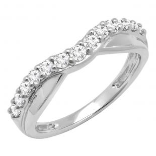 0.55 Carat (ctw) Platinum Round Cut Diamond Ladies Anniversary Wedding Guard Contour Band 1/2 CT