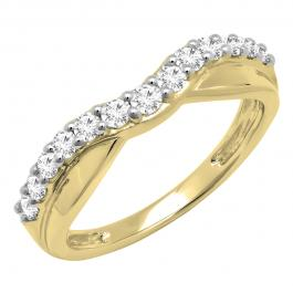 0.55 Carat (ctw) 10K Yellow Gold Round Cut Diamond Ladies Anniversary Wedding Guard Contour Band 1/2 CT