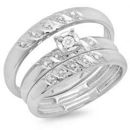 0.10 Carat (ctw) 14K White Gold Round Cut Diamond Men & Women's Engagement Ring Trio Bridal Set 1/10 CT