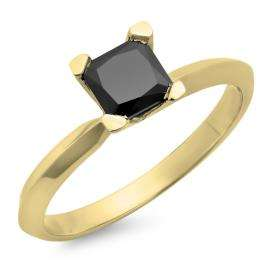 1.00 Carat (ctw) 14K Yellow Gold Princess Cut Black Diamond Ladies Solitaire Bridal Engagement Ring 1 CT
