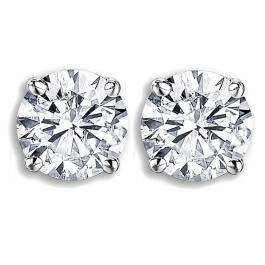 IGI Certified 1.01 Carat (ctw) 14K White Gold Round Cut White Diamond Ladies Solitaire Stud Earrings 1 CT