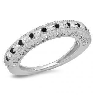 0.40 Carat (ctw) 10K White Gold Round Black & White Diamond Ladies Millgrain Style Anniversary Wedding Band