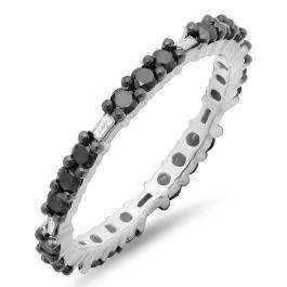 0.84 Carat (ctw) Sterling Silver Round & Baguette Black & White Diamond Ladies Eternity Anniversary Stackable Ring Wedding Band 3/4 CT
