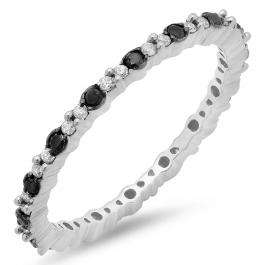 0.39 Carat (ctw) Sterling Silver Round Black & White Diamond Ladies Eternity Anniversary Stackable Ring Wedding Band