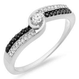 0.26 Carat (ctw) Sterling Silver Round White & Black Diamond Ladies Swirl Twisted Promise Engagement Bridal Ring 1/4 CT