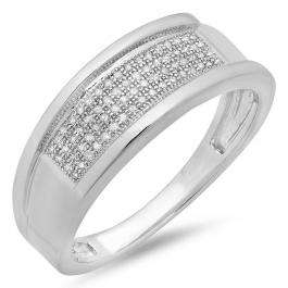 0.20 Carat (ctw) Sterling Silver Round White Diamond Men's Micro Pave Hip Hop Wedding Band 1/5 CT
