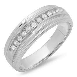 0.25 Carat (ctw) Sterling Silver Real White Round Diamond Men's Channel Set Anniversary Wedding Band 1/4 CT