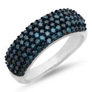 1.00 Carat (ctw) Sterling Silver Round Blue Diamond Ladies Wedding Anniversary Band Ring 1 CT