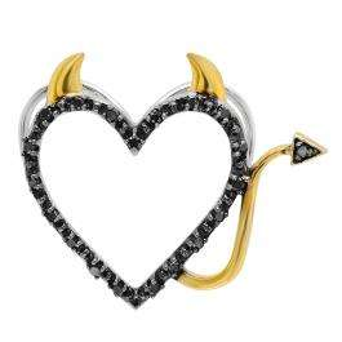 0.07 Carat (ctw) Sterling Silver Round Black Diamond Two Tone Heart Ladies Devil Pendant