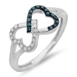 0.15 Carat (ctw) Sterling Silver Round White & Blue Diamond Ladies Promise Two Double Heart Infinity Love Engagement Ring