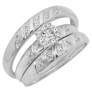 0.10 Carat (ctw) Sterling Silver Round Cut White Diamond Men's & Women's Engagement Ring Trio Bridal Fashion Wedding Band Set 1/10 CT