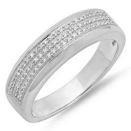 0.25 Carat (ctw) Sterling Silver Round White Diamond Men's Micro Pave Hip Hop Wedding Band 1/4 CT
