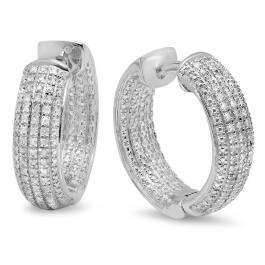 0.36 Carat (ctw) Sterling Silver Round White Diamond Ladies Micro Pave Hoop Earrings 1/3 CT