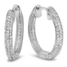 0.44 Carat (ctw) Sterling Silver Round White Diamond Ladies Micro Pave Hoop Earrings