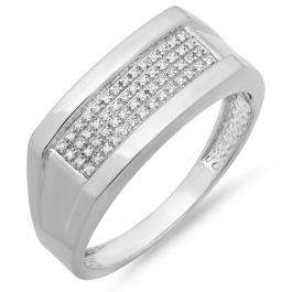 0.11 Carat (ctw) Sterling Silver Round White Diamond Men's Micro Pave Hip Hop Wedding Band