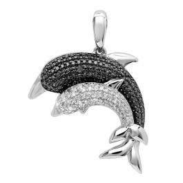 0.12 Carat (ctw) Sterling Silver White & Black Diamond Ladies Double Dolphin Pendant