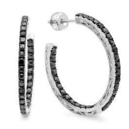 0.12 Carat (ctw) Sterling Silver Round Black Diamond Fine In And Out Hoop Earrings