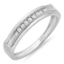 0.16 Carat (ctw) Sterling Silver Round Diamond Men's Anniversary Wedding Band Stackable Ring