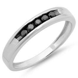 0.25 Carat (ctw) Sterling Silver Real Black Round Diamond Men's Channel Set 5 Stone Anniversary Wedding Band 1/4 CT