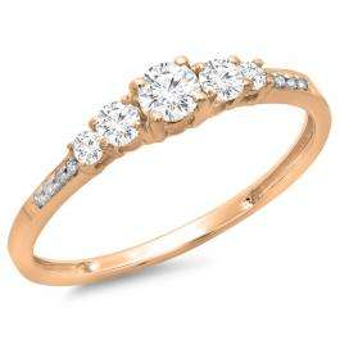 0.40 Carat (ctw) 14K Rose Gold Round Cut Diamond Ladies Bridal 5 Stone Engagement Ring