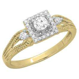 0.40 Carat (ctw) 14K Yellow Gold Round Cut Diamond Ladies Bridal Vintage Halo Style Engagement Ring