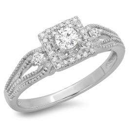 0.40 Carat (ctw) 18K White Gold Round Cut Diamond Ladies Bridal Vintage Halo Style Engagement Ring