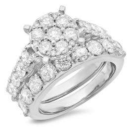 3.40 Carat (ctw) 18K White Gold Round Cut Diamond Ladies Cluster Bridal Engagement Ring With Matching Band Set
