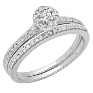 0.40 Carat (ctw) 14K White Gold Princess & Round Cut Diamond Ladies Bridal Halo Style Engagement Ring With Matching Band Set